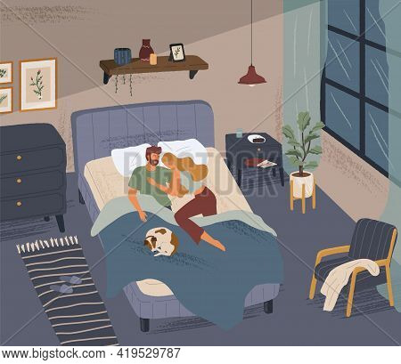 Happy Couple Sleeping Together In Modern Bedroom. Man And Woman Hug Each Other In Bed. Hand Drawn Ve