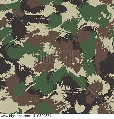 Camouflage Seamless Pattern. Brushstroke Effect. Blots Khaki Camo, Hand Drawn Texture. Three Colors-