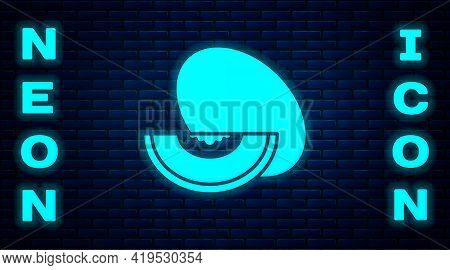 Glowing Neon Melon Fruit Icon Isolated On Brick Wall Background. Vector