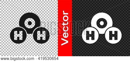 Black Chemical Formula For Water Drops H2o Shaped Icon Isolated On Transparent Background. Vector