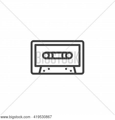 Cassette Tape Line Icon. Linear Style Sign For Mobile Concept And Web Design. Audio Cassette Outline