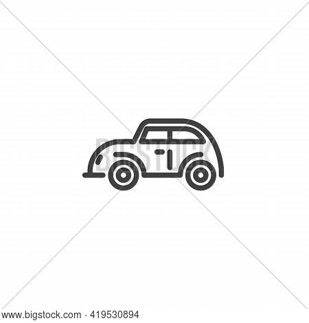 Retro Car Line Icon. Linear Style Sign For Mobile Concept And Web Design. Vintage Automobile Outline