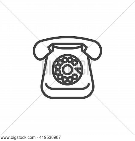 Retro Rotary Telephone Line Icon. Linear Style Sign For Mobile Concept And Web Design. Vintage Telep