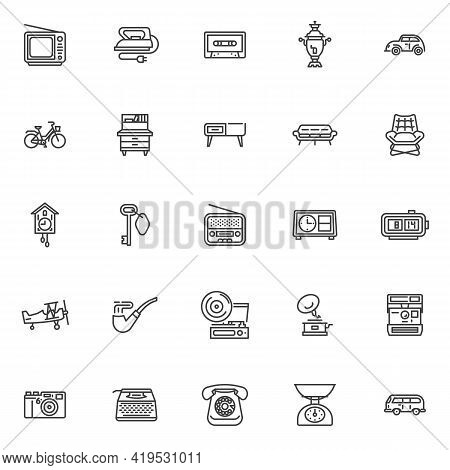 Retro Items Line Icons Set. Linear Style Symbols Collection Outline Signs Pack. Vintage Equipment Ve