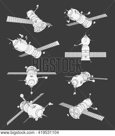 Vector Set With Spaceship Satellite. Collection With 3D Views Old Spaceship. Coloring Page With 3D M