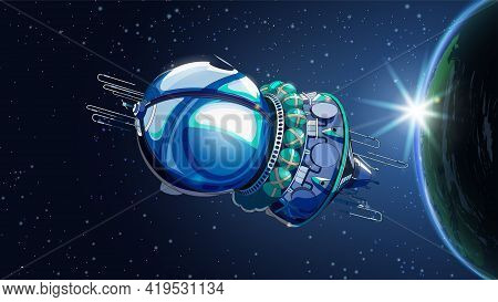 Vector Illustration Card With Spaceship Satellite In Space With Earth. Space History Program, Human