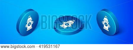 Isometric Fire Hydrant Icon Isolated On Blue Background. Blue Circle Button. Vector