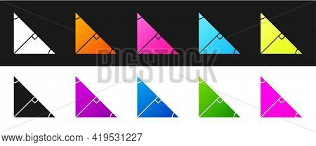 Set Angle Bisector Of A Triangle Icon Isolated On Black And White Background. Vector