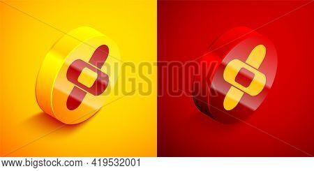 Isometric Crossed Bandage Plaster Icon Isolated On Orange And Red Background. Medical Plaster, Adhes