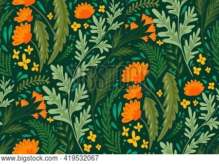 Seamless Flat Natural Pattern With Herbs And Flowers Of The Fields. Wallpaper With Dandelions, Wormw