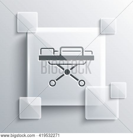 Grey Stretcher Icon Isolated On Grey Background. Patient Hospital Medical Stretcher. Square Glass Pa