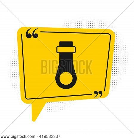 Black Zipper Icon Isolated On White Background. Yellow Speech Bubble Symbol. Vector