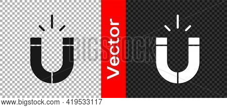 Black Magnet Icon Isolated On Transparent Background. Horseshoe Magnet, Magnetism, Magnetize, Attrac