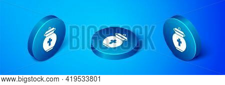 Isometric Funeral Urn Icon Isolated On Blue Background. Cremation And Burial Containers, Columbarium