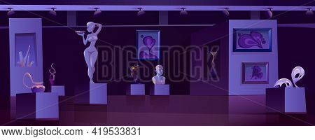 Museum With Modern Artworks At Night. Art Gallery Interior With Contemporary Exhibition. Vector Cart
