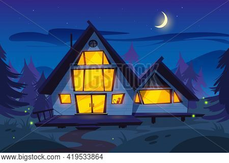 Wooden House In Forest At Night. Forester Cottage. Vector Cartoon Summer Wood Landscape With House W