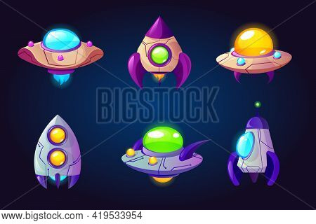 Rockets, Ufo And Spaceships Isolated On Blue Background. Vector Cartoon Futuristic Design Of Differe