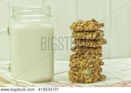 Homemade Cookies With Seeds And Honey Caramel. Caramel And Sunflower Seeds And Pumpkin Seeds And Nut