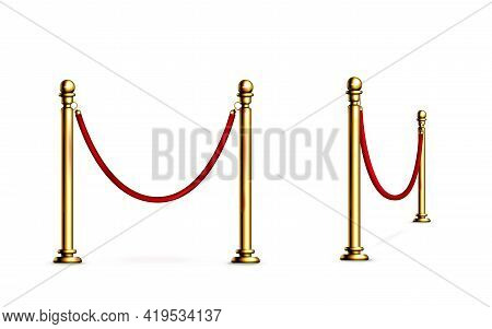 Barrier With Rope And Gold Poles, Fence For Red Carpet Or Vip Event, Museum Or Gallery Stanchion, Ni