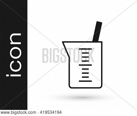 Black Laboratory Glassware Or Beaker Icon Isolated On White Background. Vector