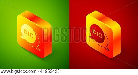 Isometric Bio Green Healthy Food Icon Isolated On Green And Red Background. Organic Product. Healthy