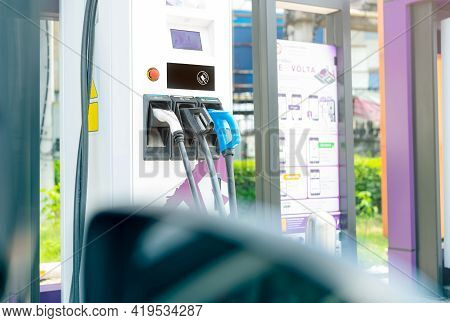 Chonburi, Thailand-april 22, 2021 : View From Car To Pea Ev-charging Station. Electric Car Charging