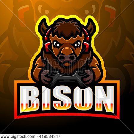 Vector Illustration Of Strong Bison Mascot Esport Logo Design