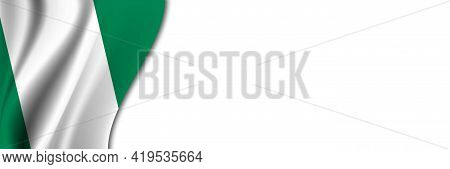 Nigeria Flag On White Background. White Background With Place For Text Near The Flag Of Nigeria.