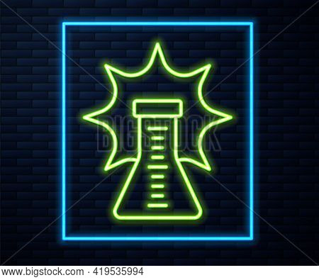 Glowing Neon Line Chemical Experiment, Explosion In The Flask Icon Isolated On Brick Wall Background