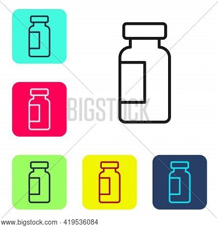 Black Line Test Tube And Flask Chemical Laboratory Test Icon Isolated On White Background. Laborator