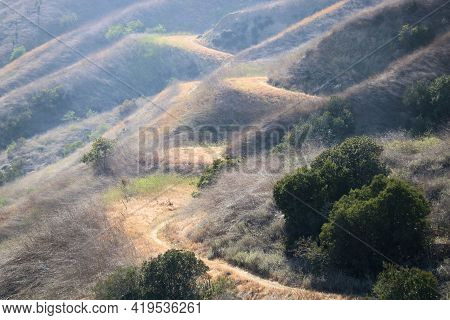 Hiking Trail On Mountain Slopes Above Worsham Canyon Surrounded By Grasslands And A Chaparral Woodla
