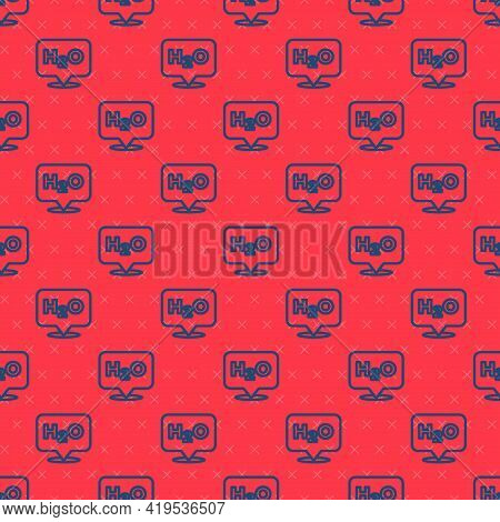 Blue Line Chemical Formula For Water Drops H2o Shaped Icon Isolated Seamless Pattern On Red Backgrou