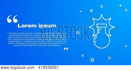 White Line Chemical Experiment, Explosion In The Flask Icon Isolated On Blue Background. Chemical Ex