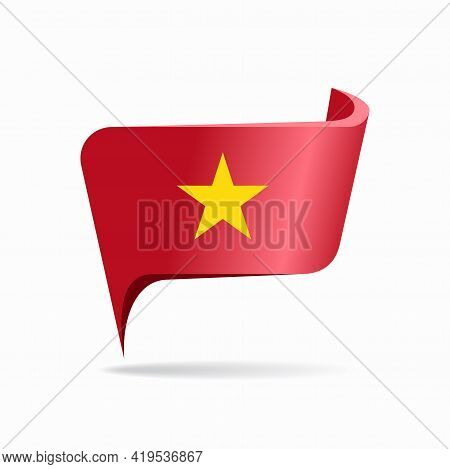 Vietnamese Flag Map Pointer Layout. Vector Illustration.