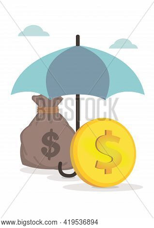 Money Under A Umbrella. Concept Of Wealth And Risk Protection. Flat Isolated Vector Illustration.