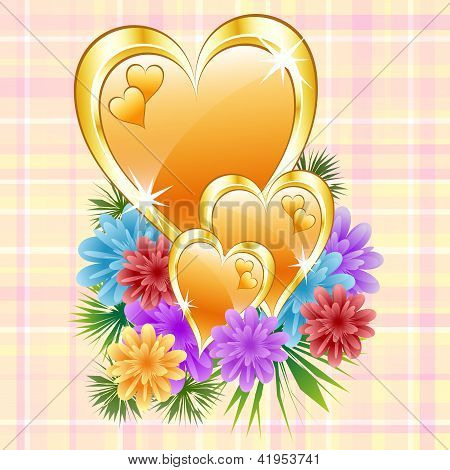 Gold Hearts With Flowers