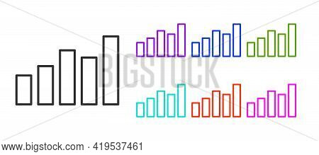 Black Line Graph, Schedule, Chart, Diagram, Infographic, Pie Graph Icon Isolated On White Background