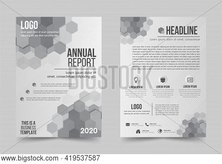 Brochure Design Flyer Template White And Gray Color Geometric Shapes Design Layout, Annual Report, M