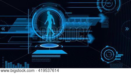 Animation of medical data processing with human model in blue scope scanning on black background. global technology and digital interface concept digitally generated image.