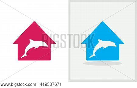Dolphin House Logo Design. Home Logo With Dolphin Concept Vector. Dolphin And Home Logo Design