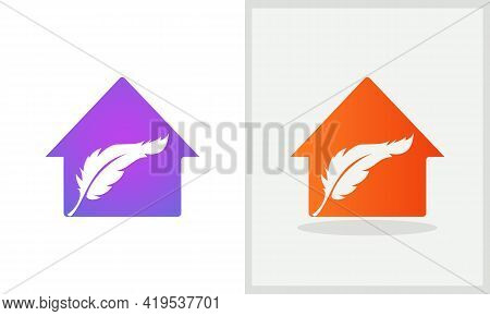 Feather House Logo Design. Home Logo With Feather Concept Vector. Law And Home Logo Design