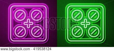 Glowing Neon Line Pills In Blister Pack Icon Isolated On Purple And Green Background. Medical Drug P