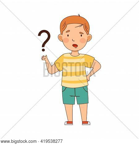 Confused Redhead Boy Pondering Question Thinking And Wondering Vector Illustration