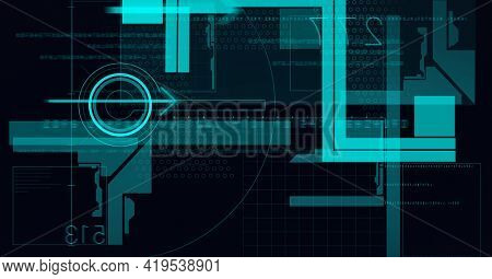 Animation of scope scanning, data processing and numbers on black background. global technology and digital interface concept digitally generated image.