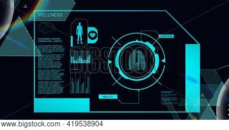 Animation of medical data processing with human model and lungs in scope scanning on black. global science, medicine, technology and digital interface concept digitally generated image.