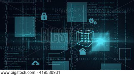 Animation of data processing and binary coding with green squares on black background. global technology and digital interface concept digitally generated image.