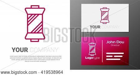 Logotype Line Sewing Thread On Spool Icon Isolated On White Background. Yarn Spool. Thread Bobbin. L