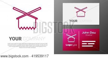 Logotype Line Knitting Needles Icon Isolated On White Background. Label For Hand Made, Knitting Or T