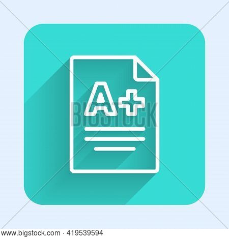 White Line Exam Sheet With A Plus Grade Icon Isolated With Long Shadow. Test Paper, Exam, Or Survey