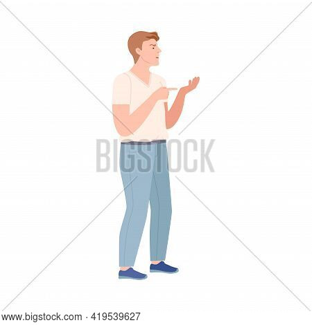 Frowning Man Quarrelling And Arguing With Someone Shouting Vector Illustration